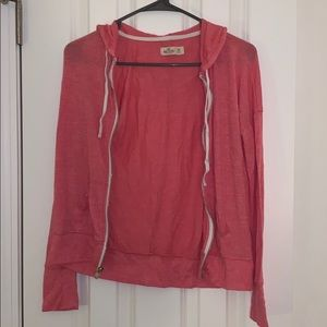 hollister full zip pink sweatshirt, xs